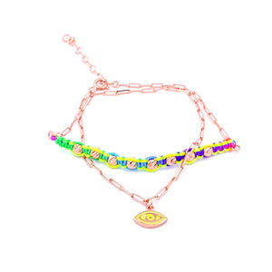Mix Braided Double Strand Bracelet / Anklet