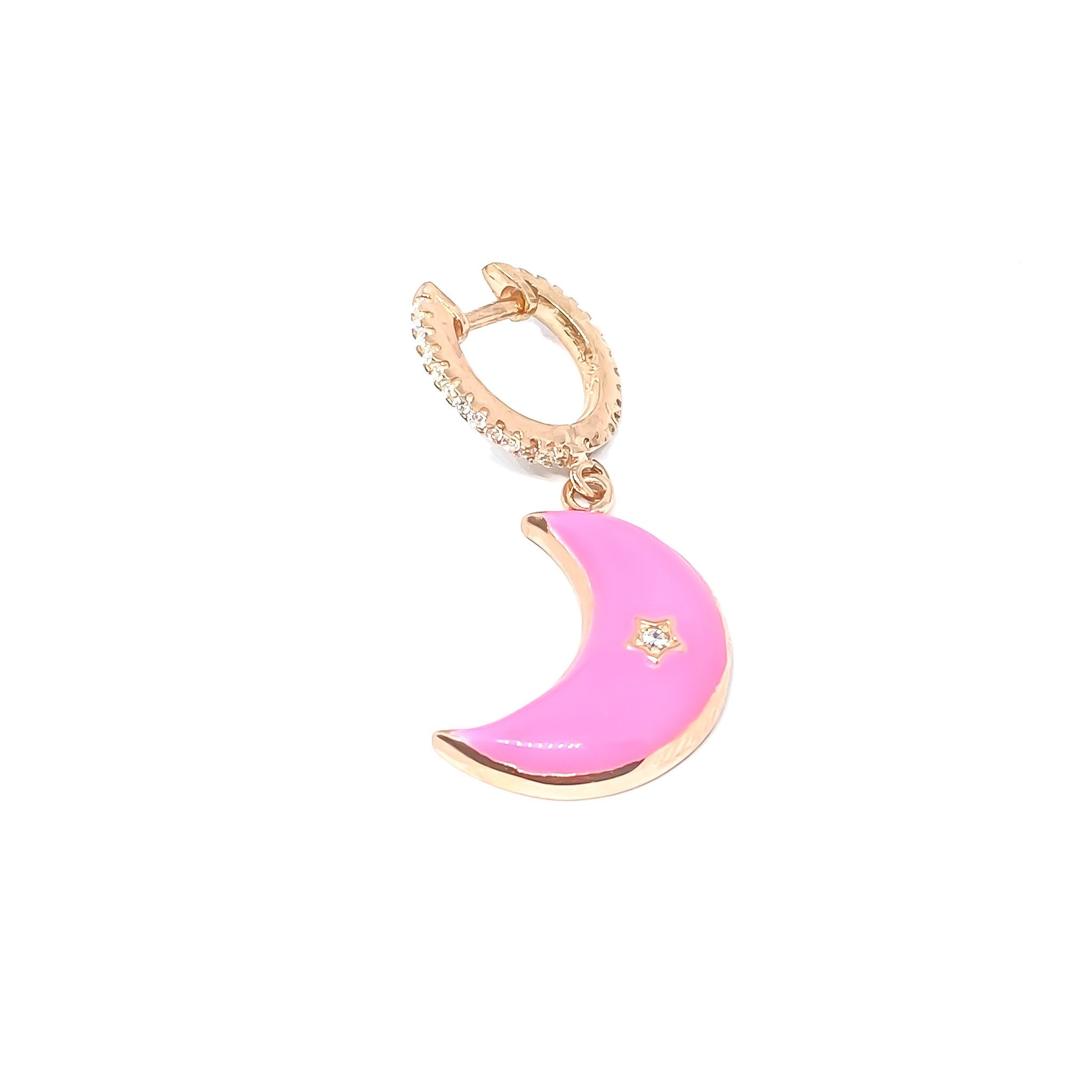 Pink Large Moon Drop Earring