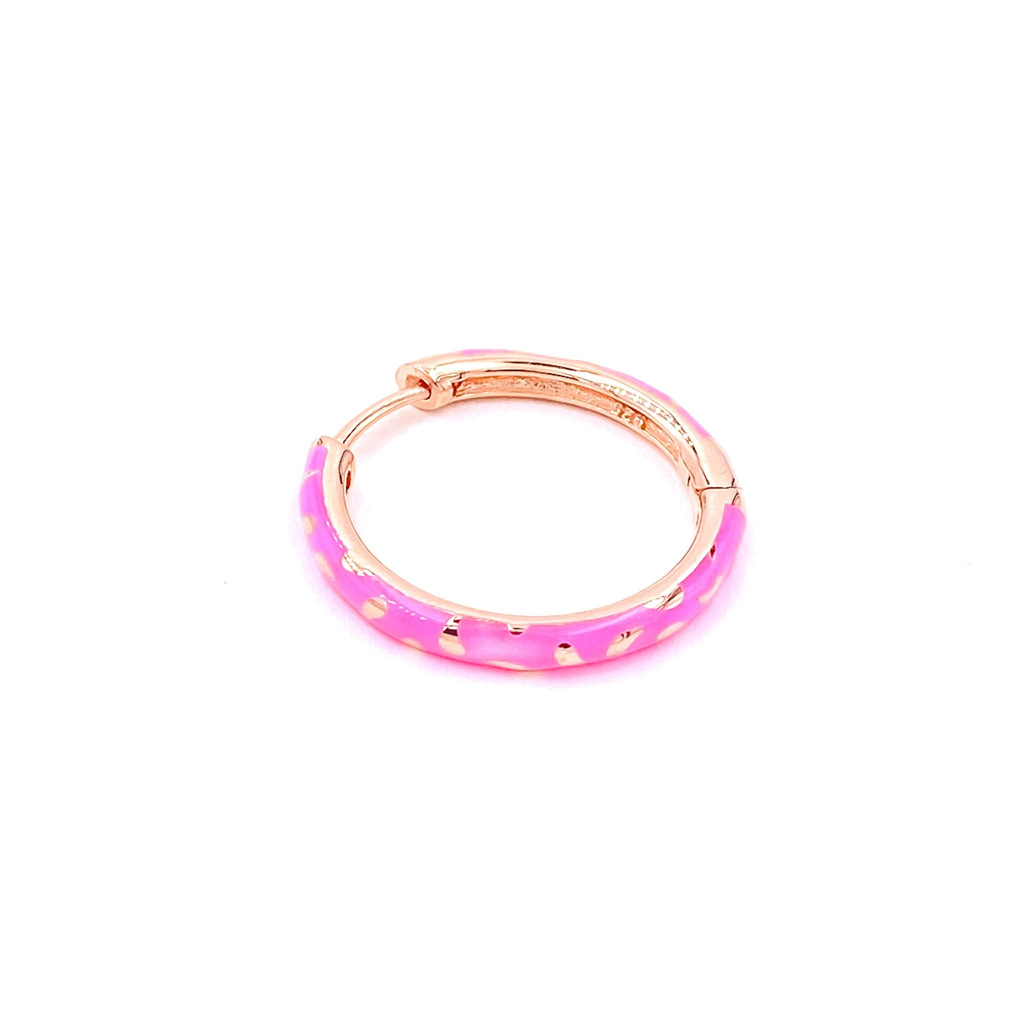 Pink Enamel Patterned Hoop Earring