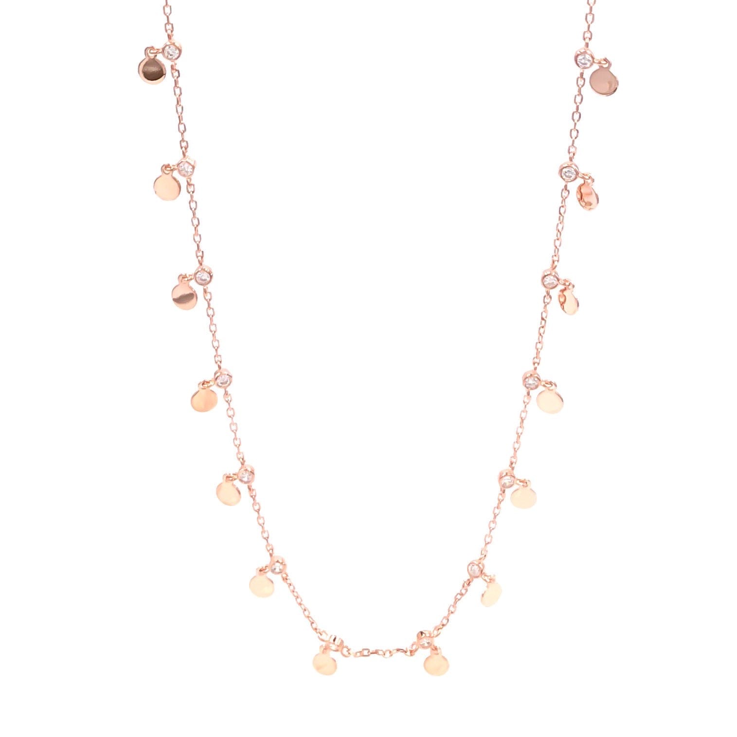Gemstone Sequins Long Chain Necklace