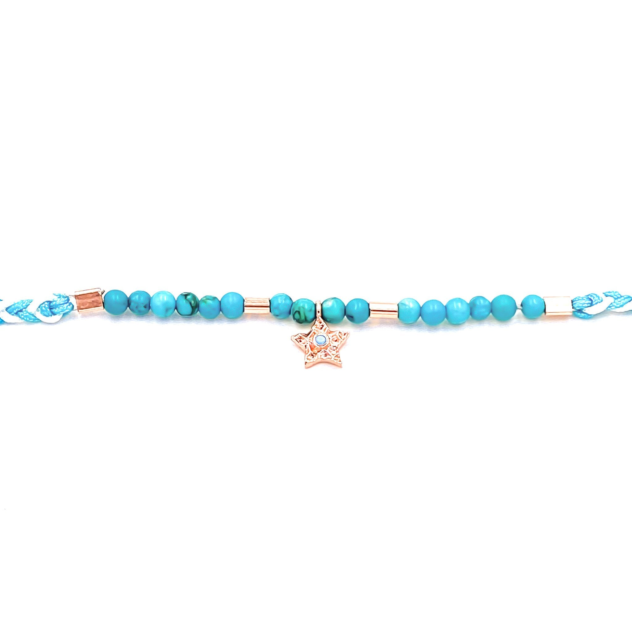 Neon Blue Braided Bead Anklet