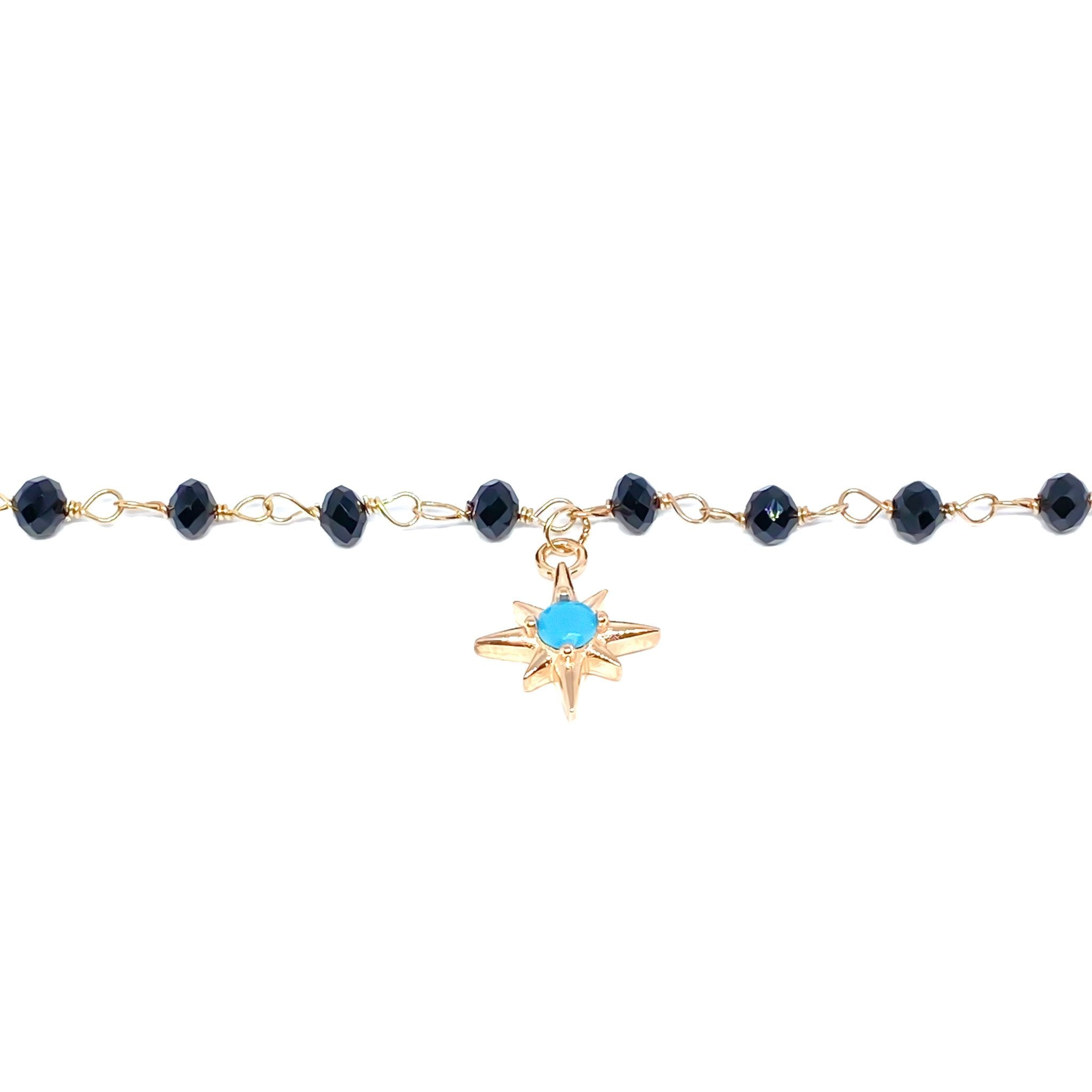 Black Beaded Pole Star Anklet