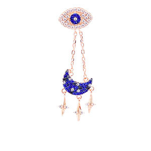 Moon Chain Drop Eye Earring