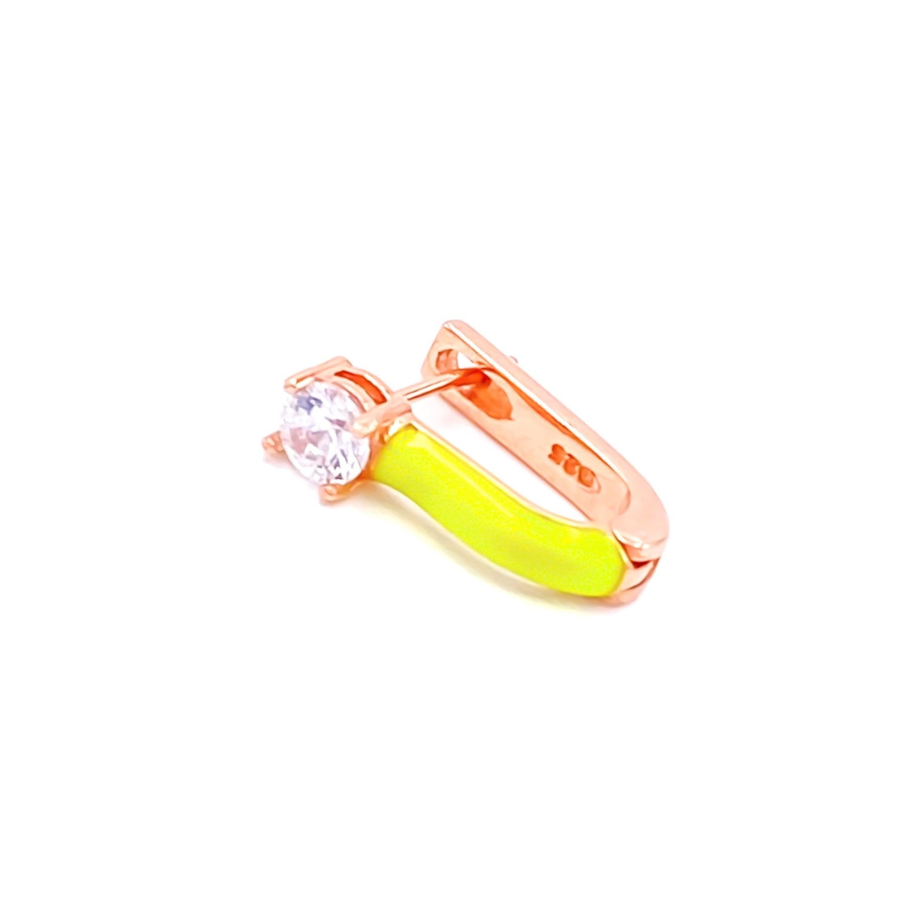 Neon Yellow Solitaire Earring