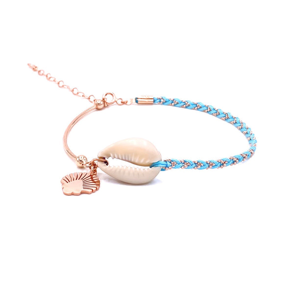 Oyster Seashell Turquise Braid Anklet