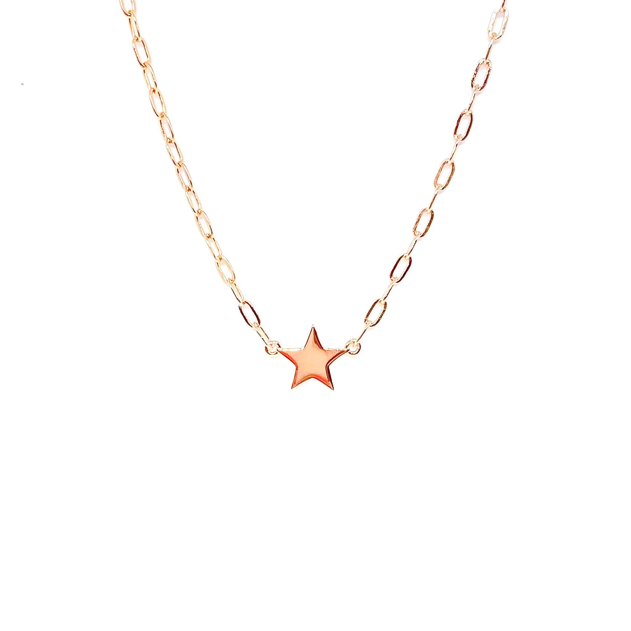 Drawn Chain Laser Star Necklace