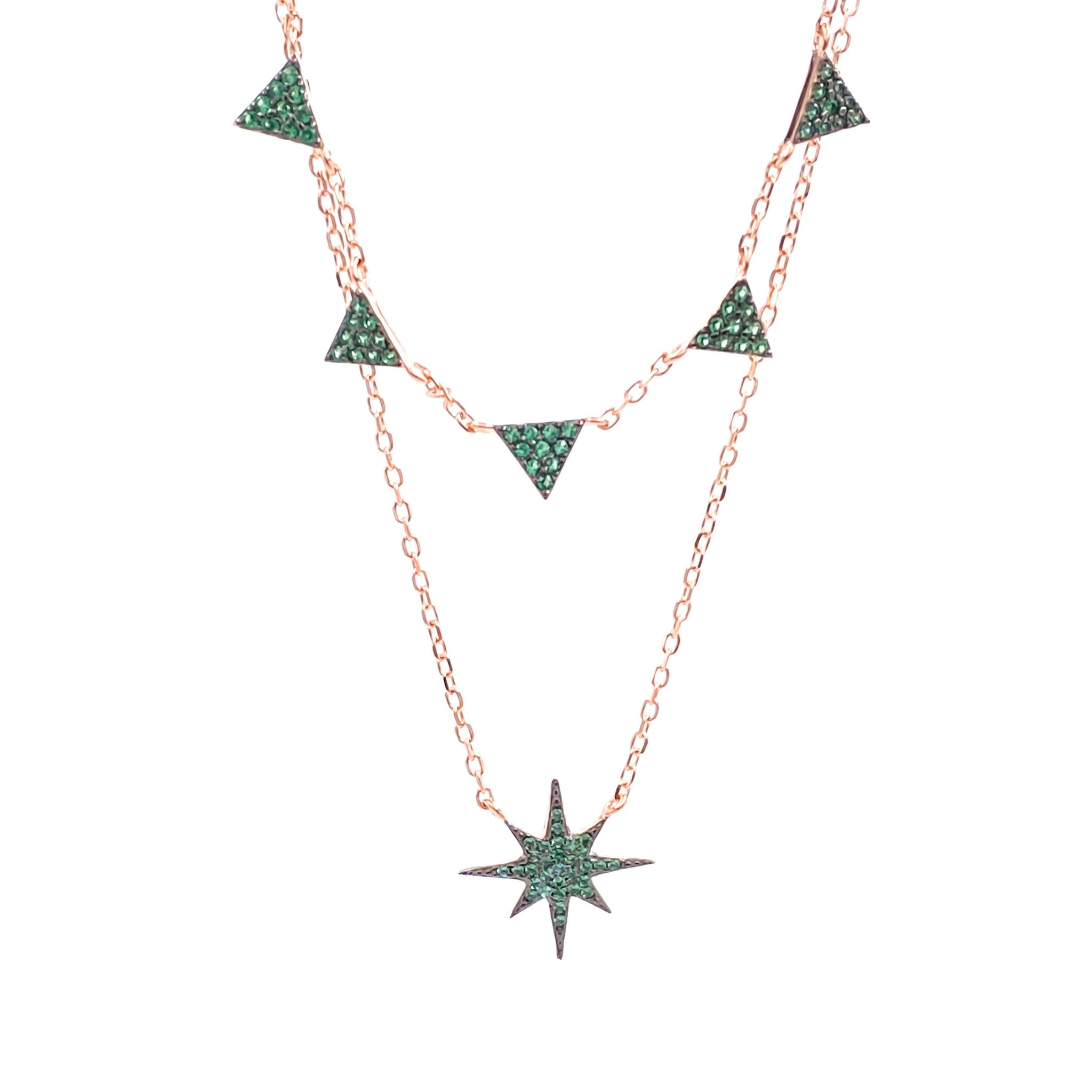 Green Star Triangle Double Strand Necklace