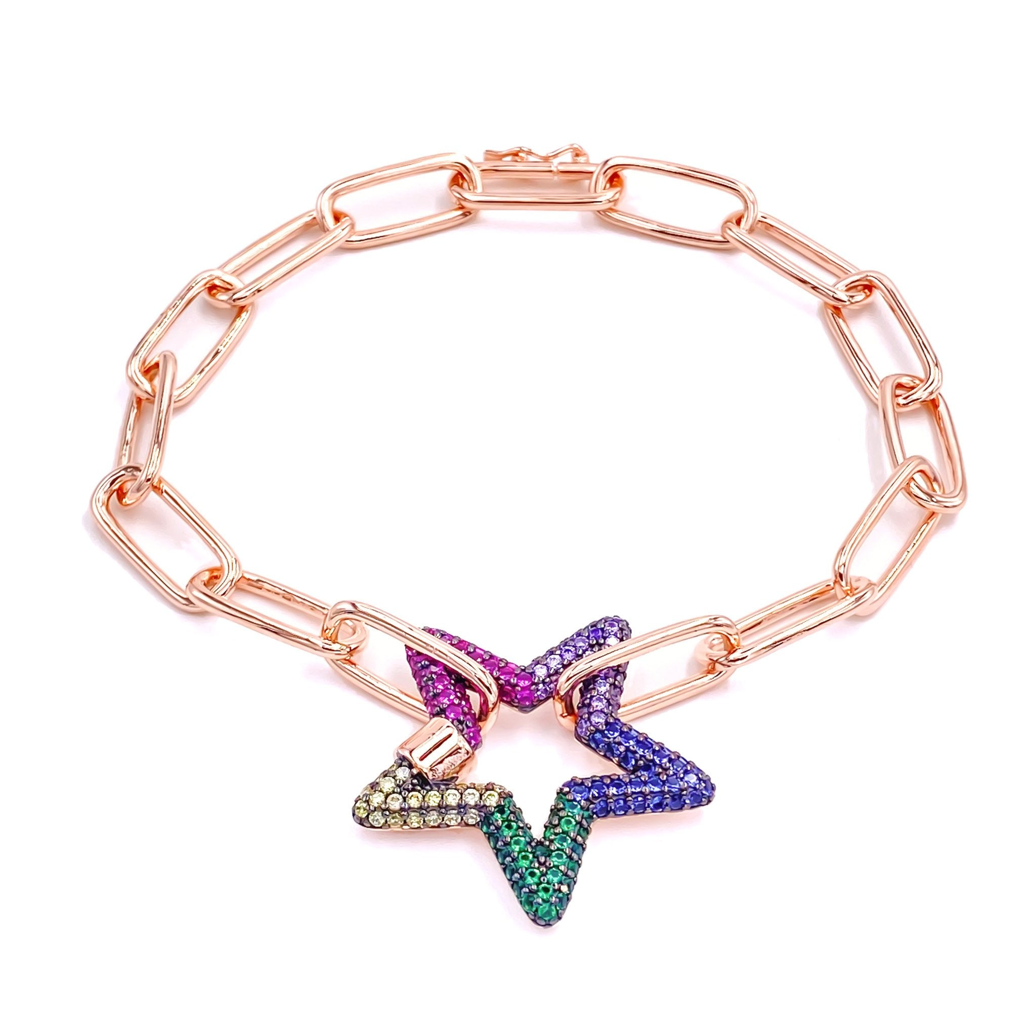 Rainbow Star Chain Bracelet
