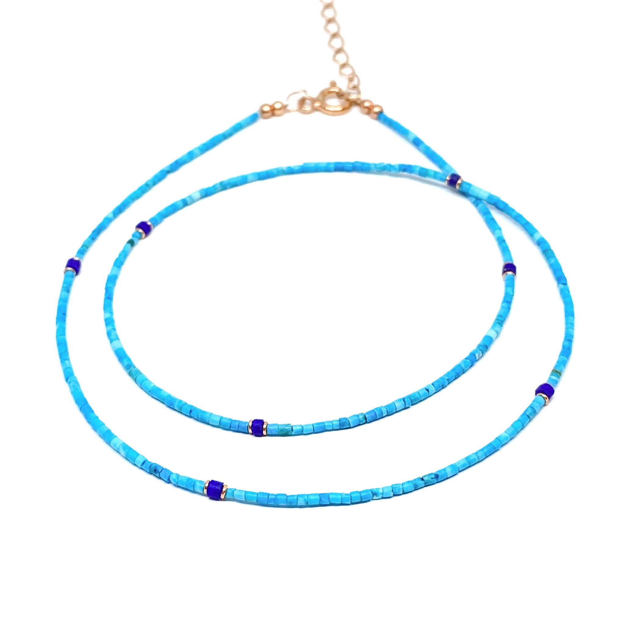 Mini Blue Afghan Beaded Necklace