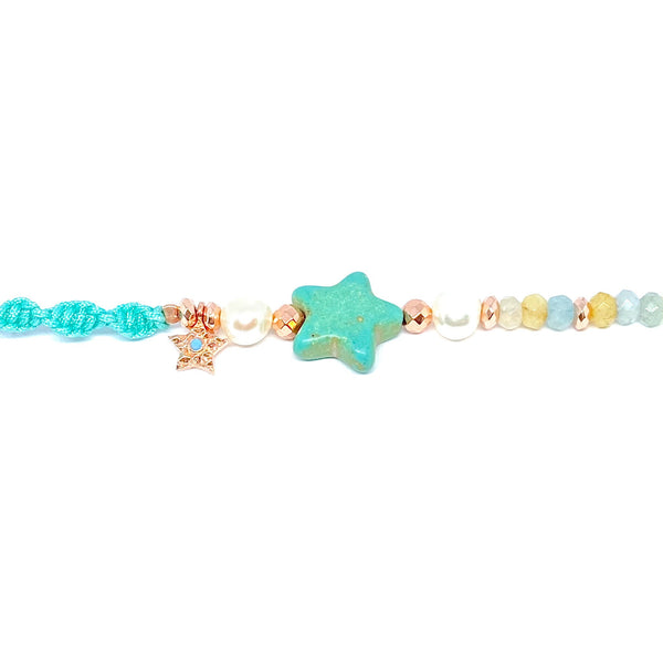 Colorful Rope Pearl Star Bracelet