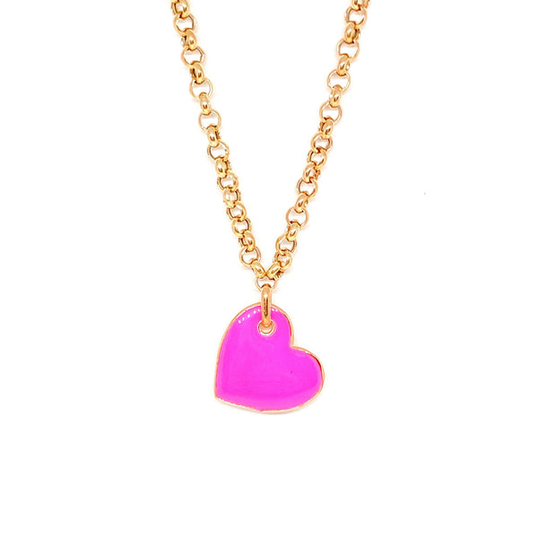 Neon Pink Heart Necklace