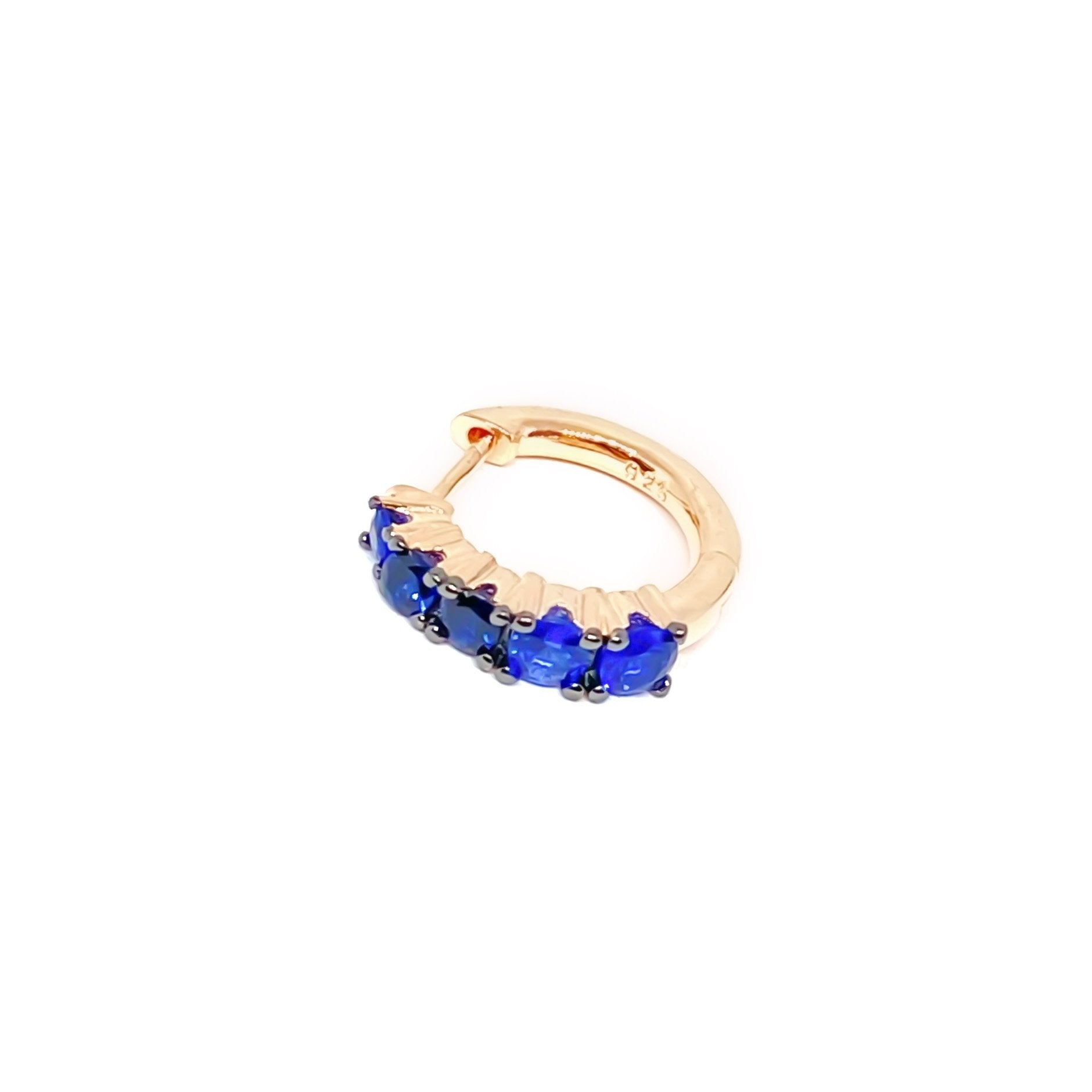 Blue Five Stone Huggie Earring