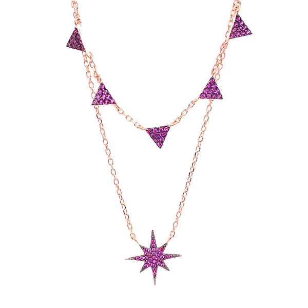 Pink Star Triangle Double Strand Necklace