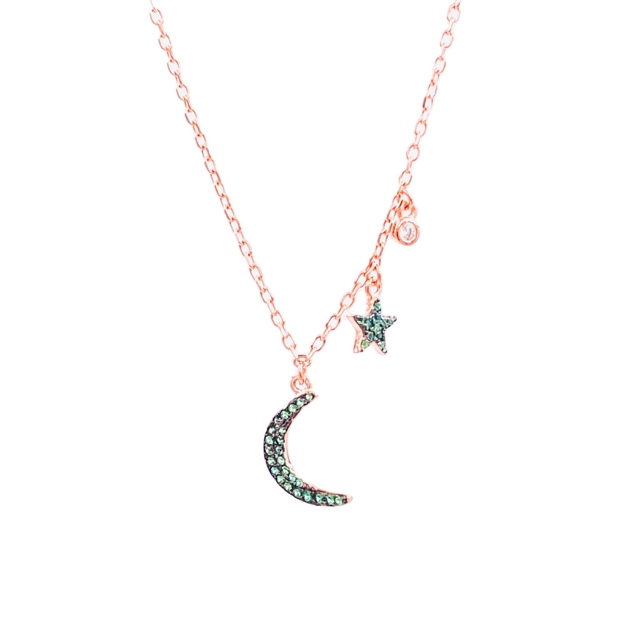 Moon & Star Green Gemstone Necklace