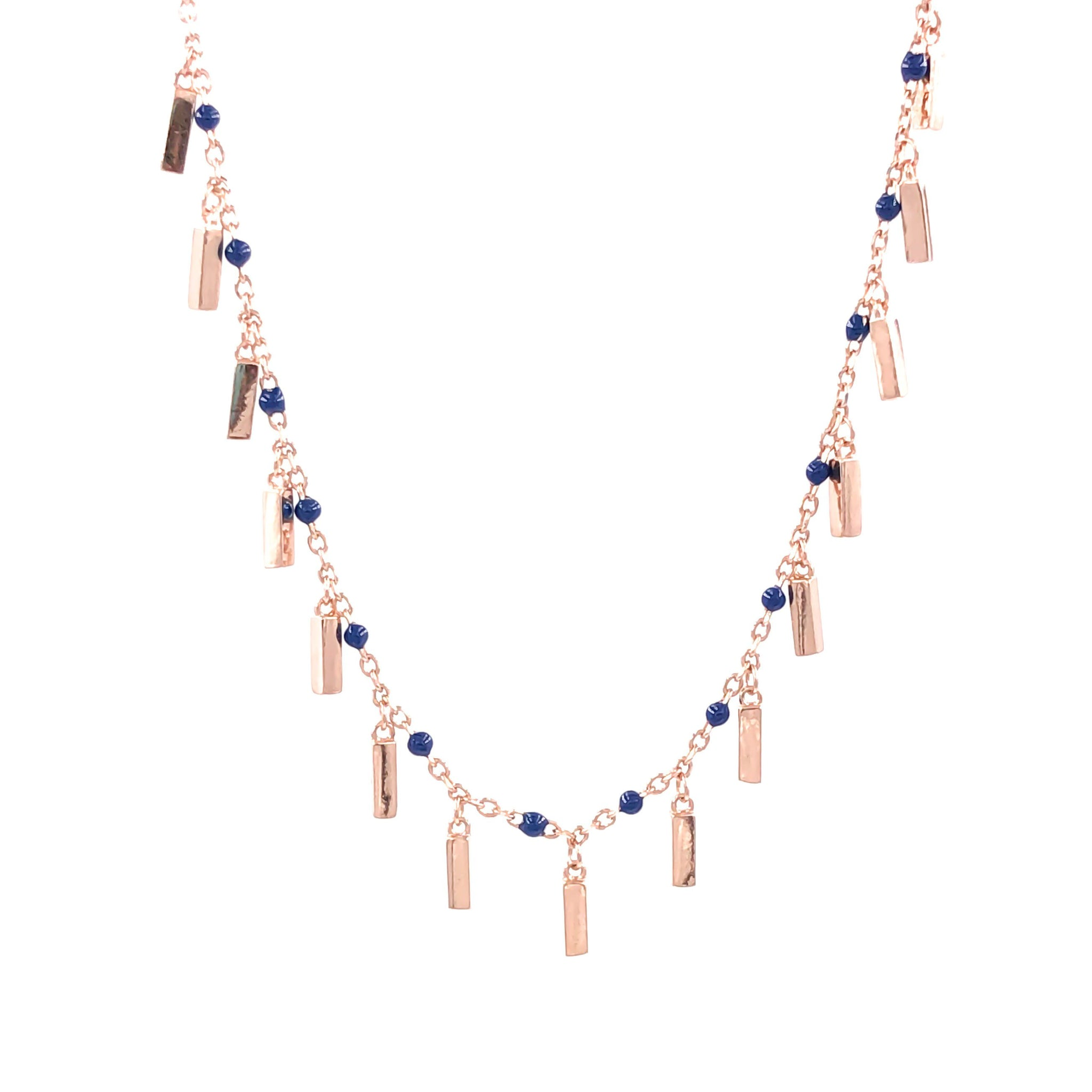 Navy Enameled Bead Sticks Necklace