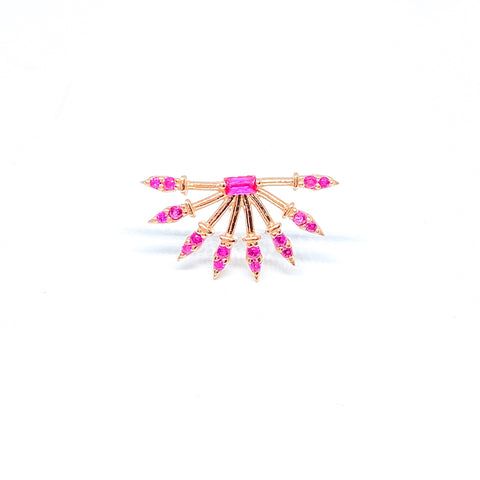Pink Gemstone Spike Earring