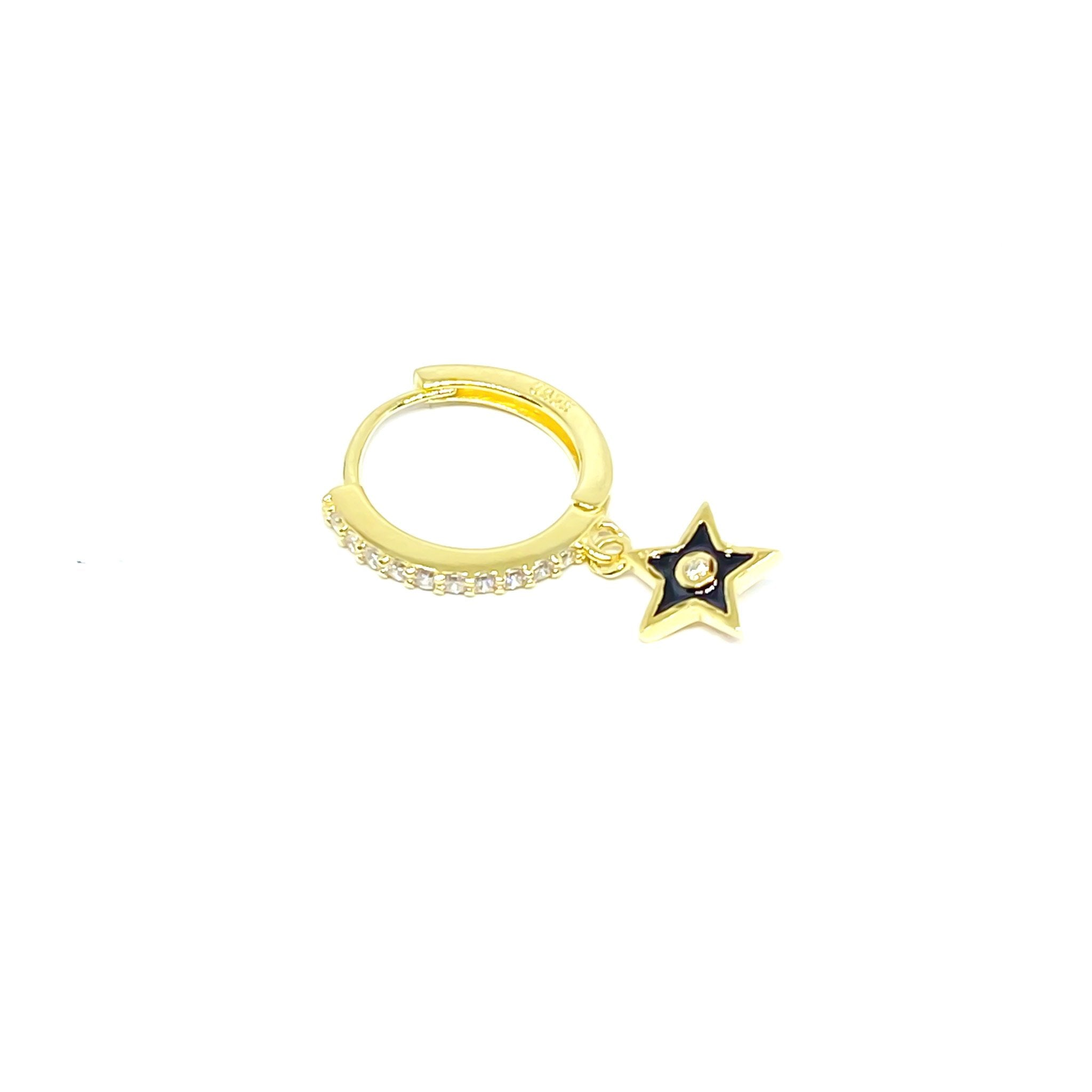 Black Star Drop Earring