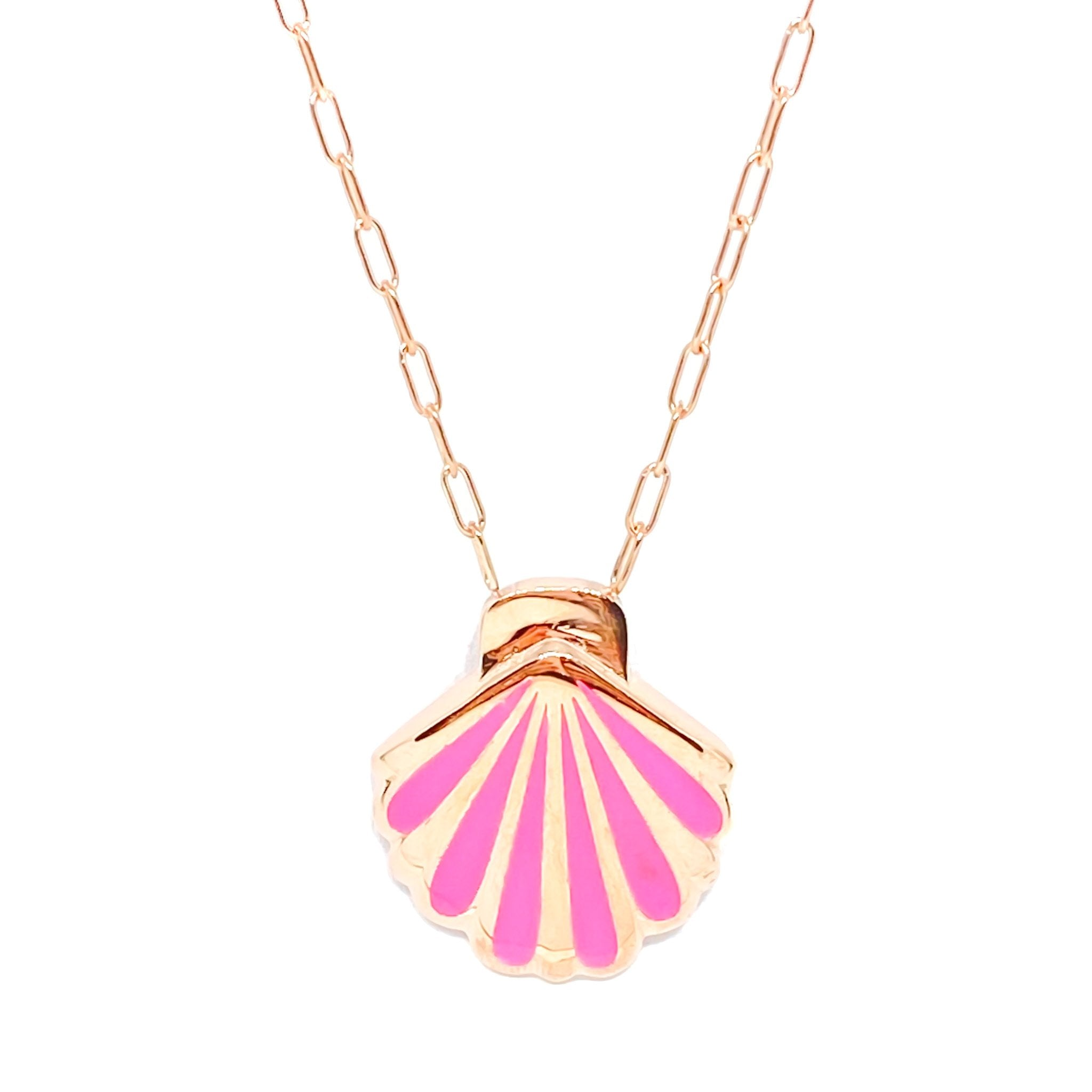 Pink Enamel Oyster Necklace