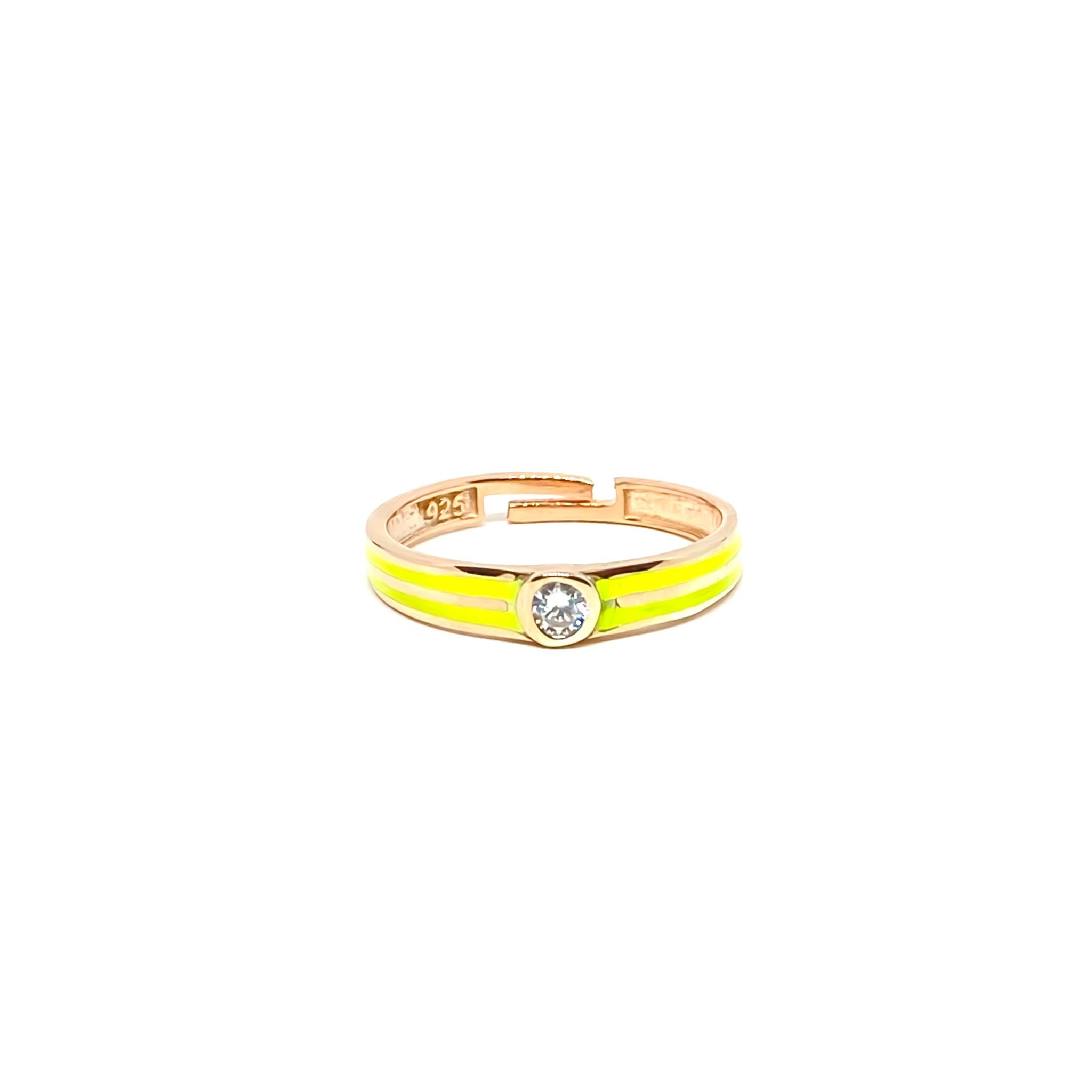 Yellow Enamel Solitaire Ring