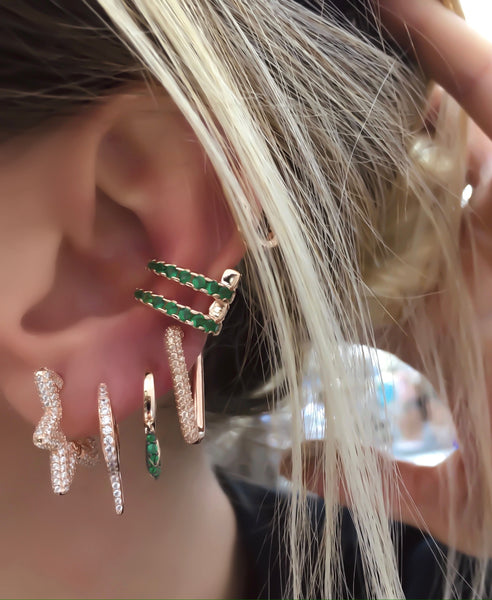 Green Clear Stone Double Ear Cuff
