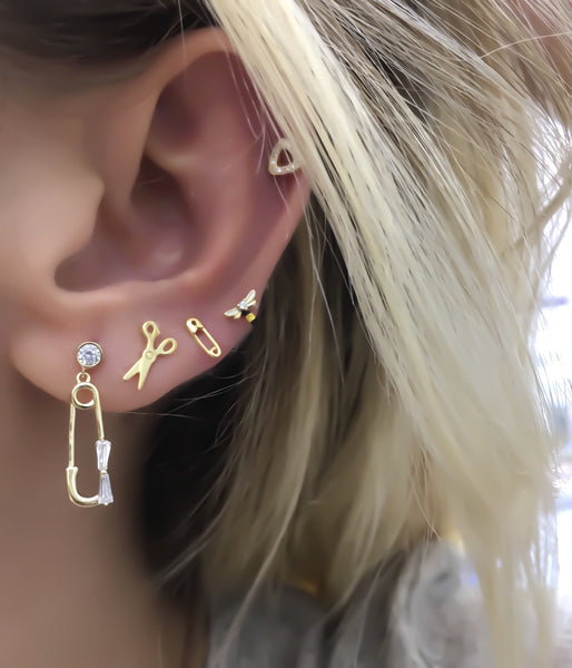 Needle Earring with Ribbon