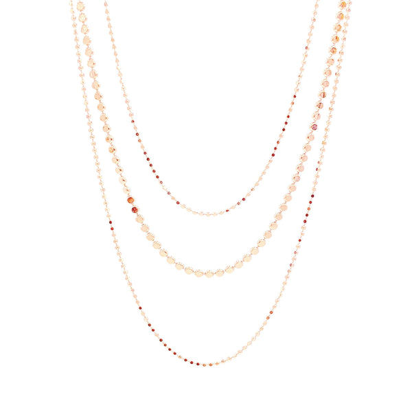 Three Strand Disc Chain Necklace