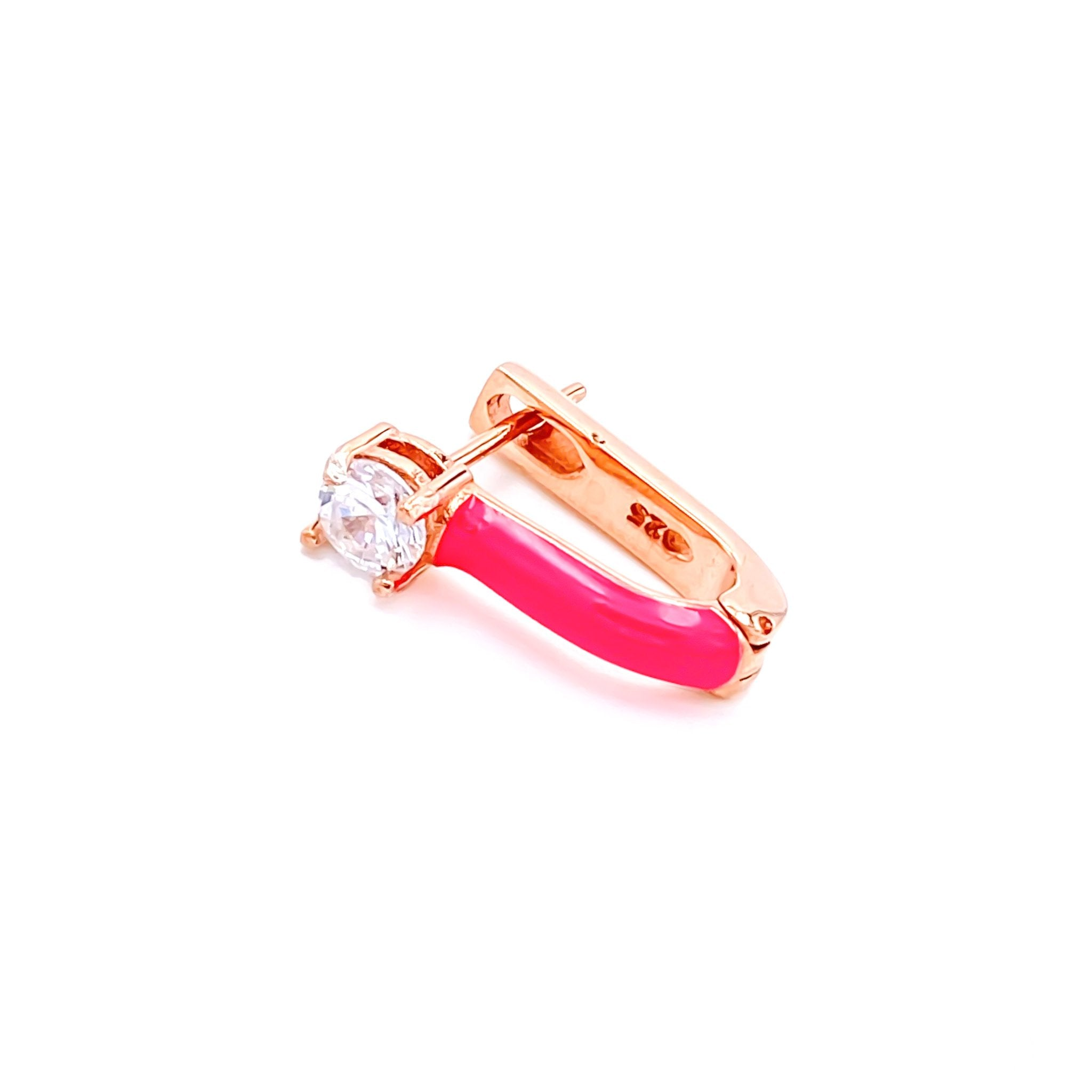 Neon Pink Solitaire Earring