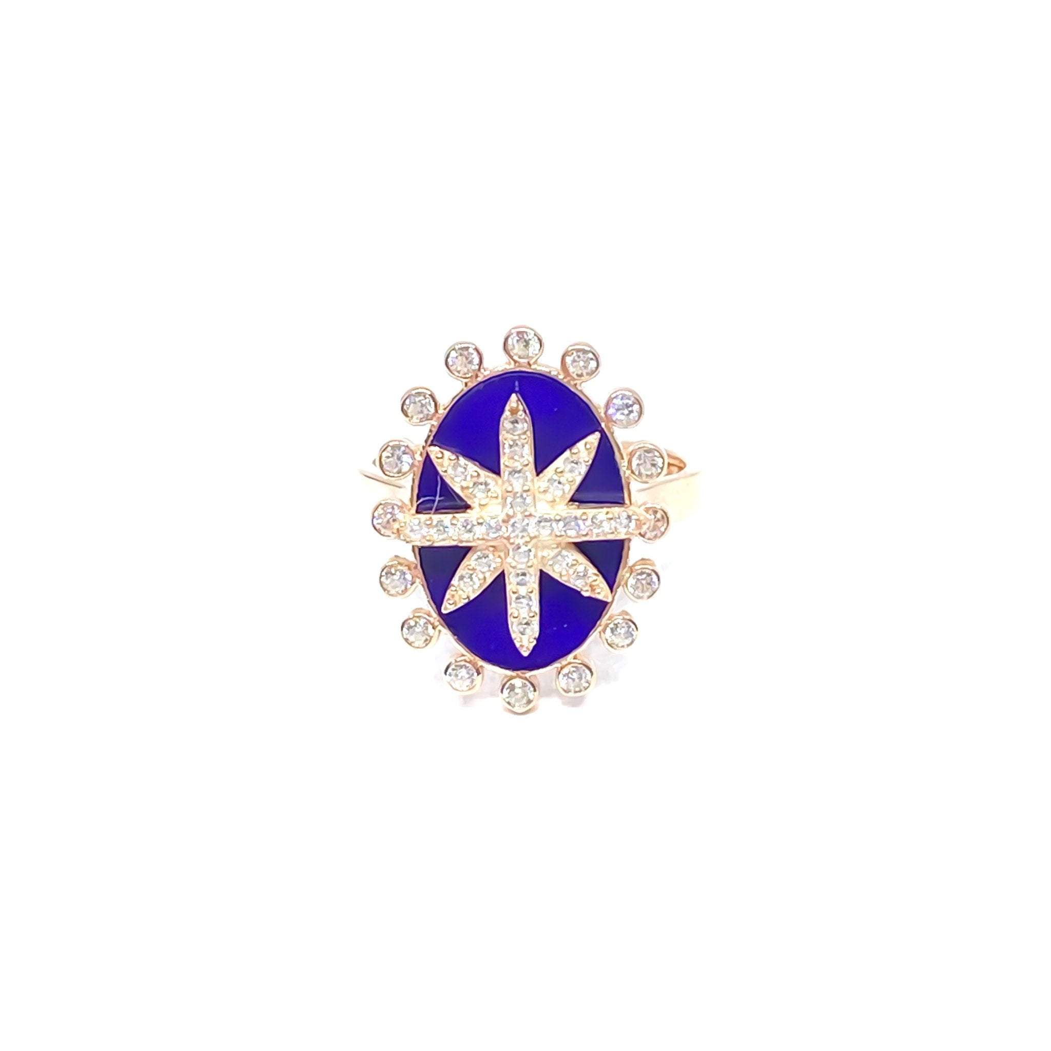 Blue Onyx Star Medallion Ring