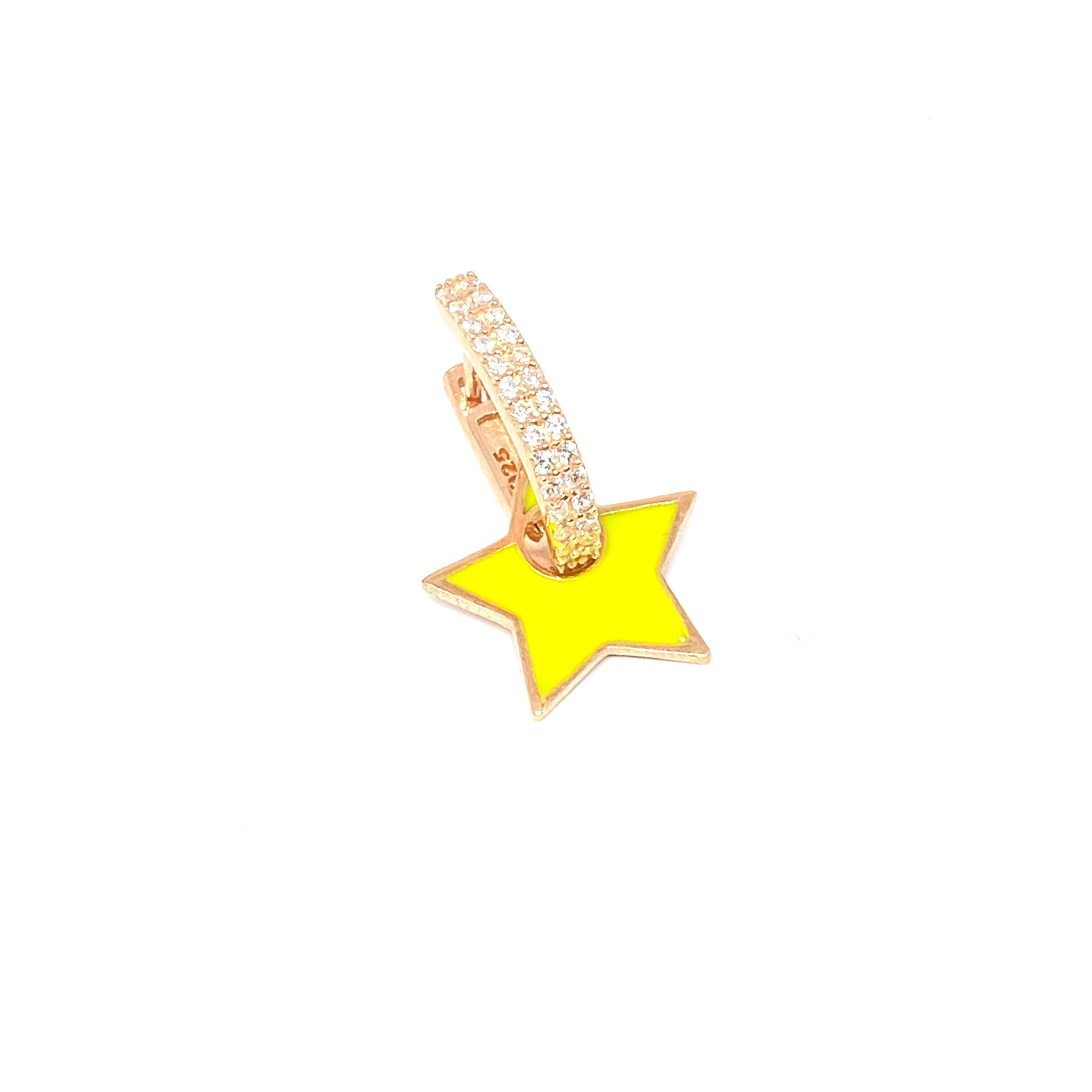 Neon Yellow Enamel Star Earring