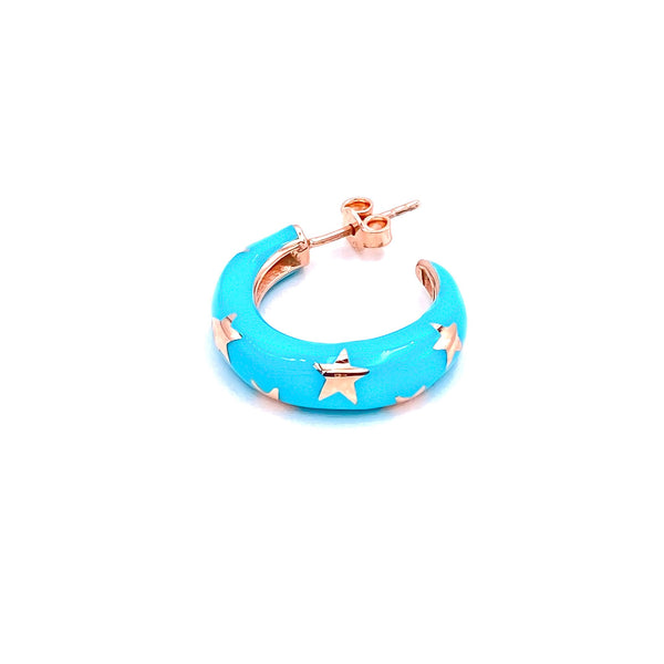 Blue Enamel Star Hoop Earring