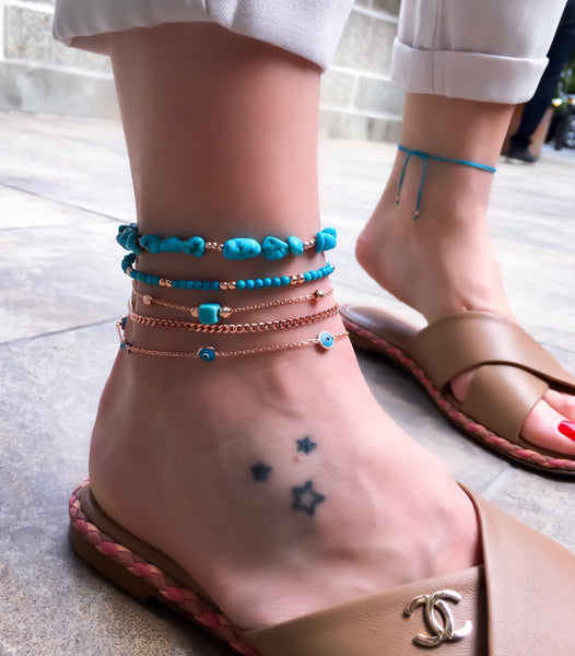 Turquoise Pebbles Anklet