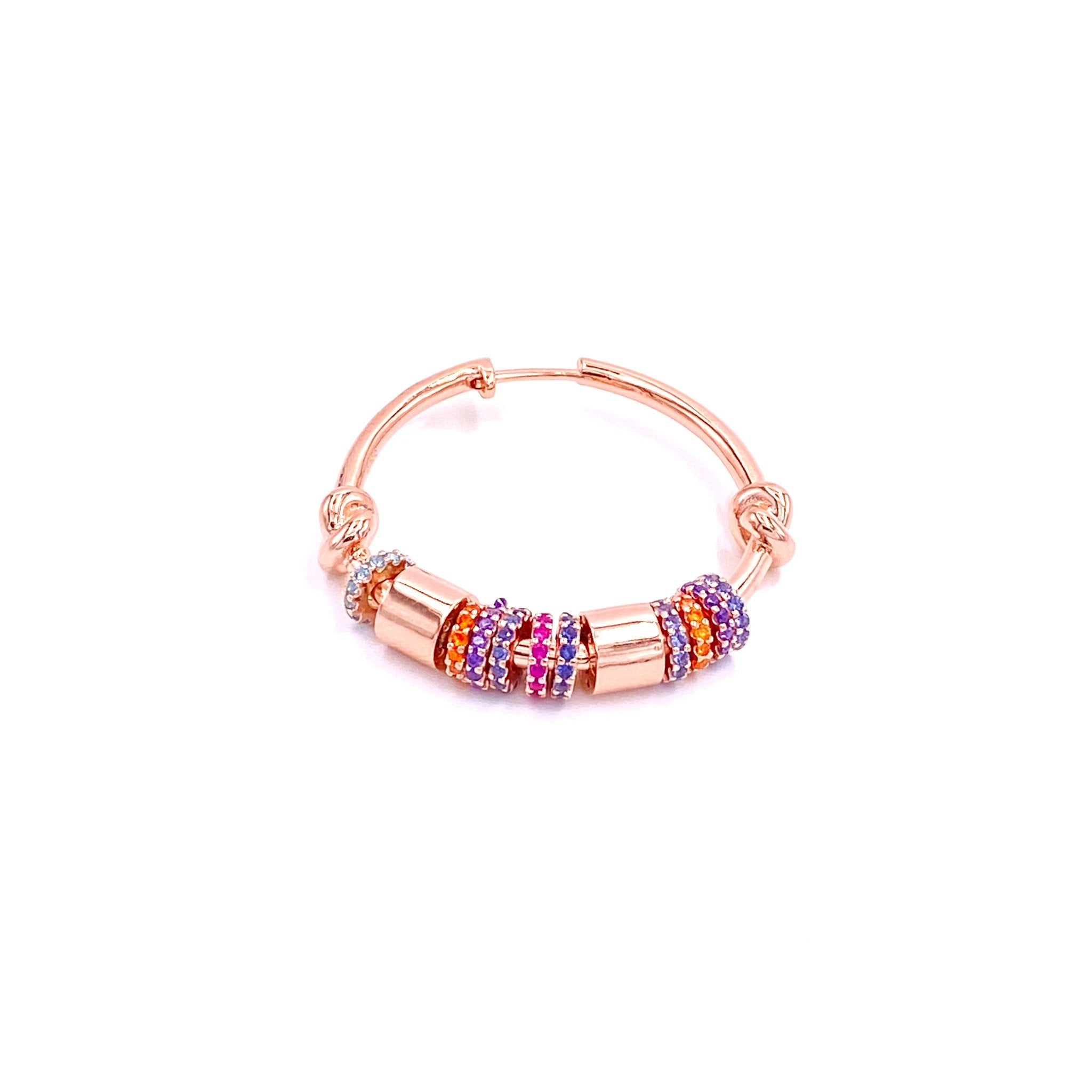 Multicolor Circles Hoop Earring