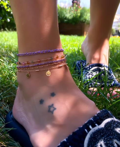 Triple Strand Lilac Tennis Anklet