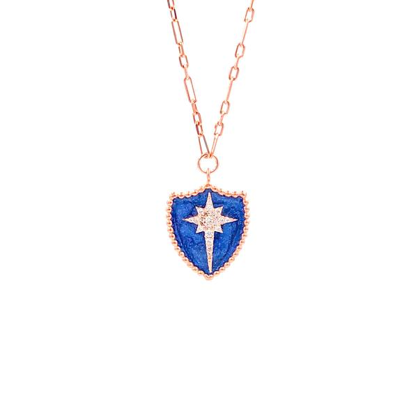 Dark Blue Shield North Star Necklace