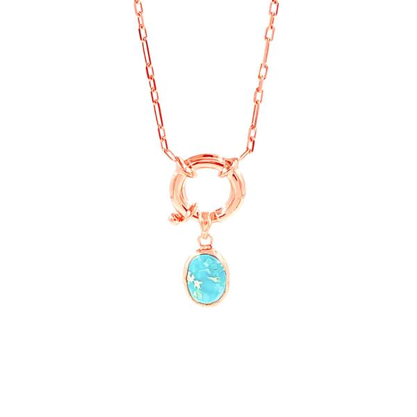 Turquoise Lock Medallion Necklace