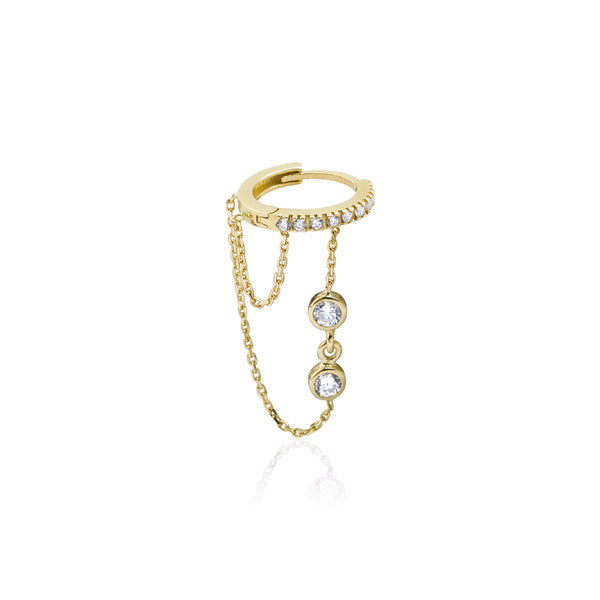Huggie Drop Chain Earring