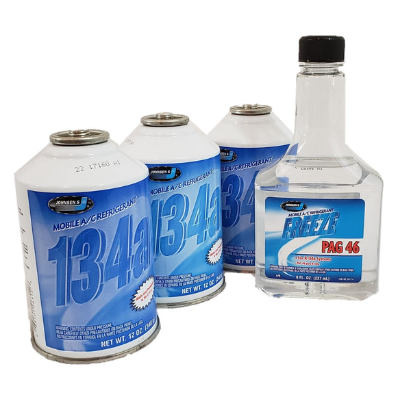 R134a Bundle Refrigerant Gas (3) 12 oz Can, Lubricant Glycol PAG 46 (1) 8oz Bottle