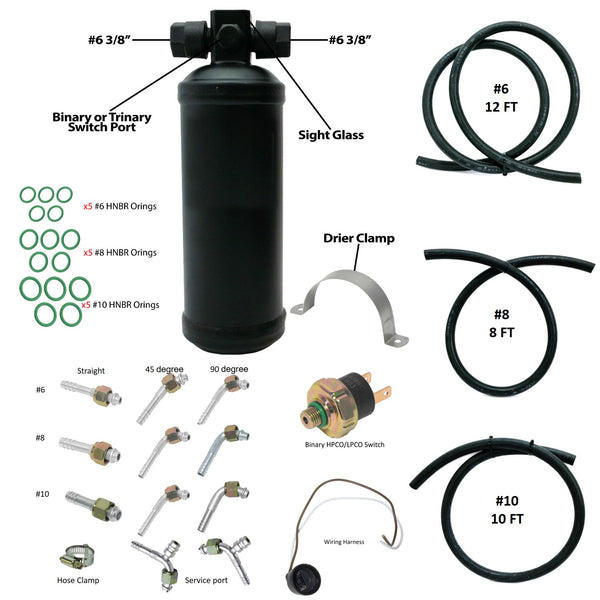 A/C Universal Kit with Drier (Steel), Fittings, O-Ring & Refrigerant Hose Long