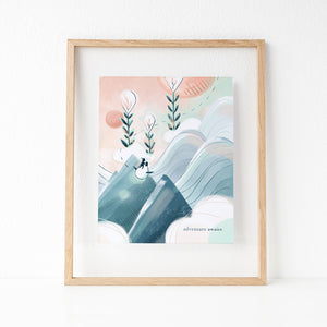Framed cute art print of girl, Emme flying off on an adventure with her friends Ao and Hamstarcat