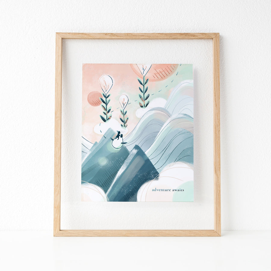 Cute art print of girl, Emme flying off on an adventure with her friends Ao and Hamstarcat