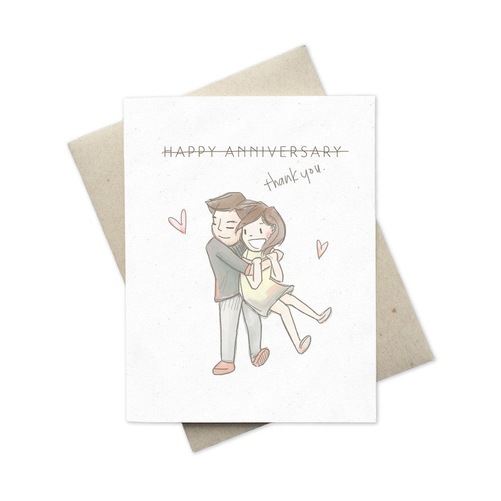 Thank you anniversary illustrated greeting card mimochai happy anniversary thank you greeting card front m4hsunfo