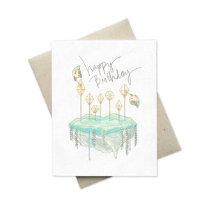 Whimsical Happy Birthday card with cake sprites blank inside