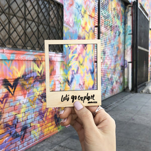 Let's Go Explore diy polaroid magnet wooden frame example lifestyle photo graffiti
