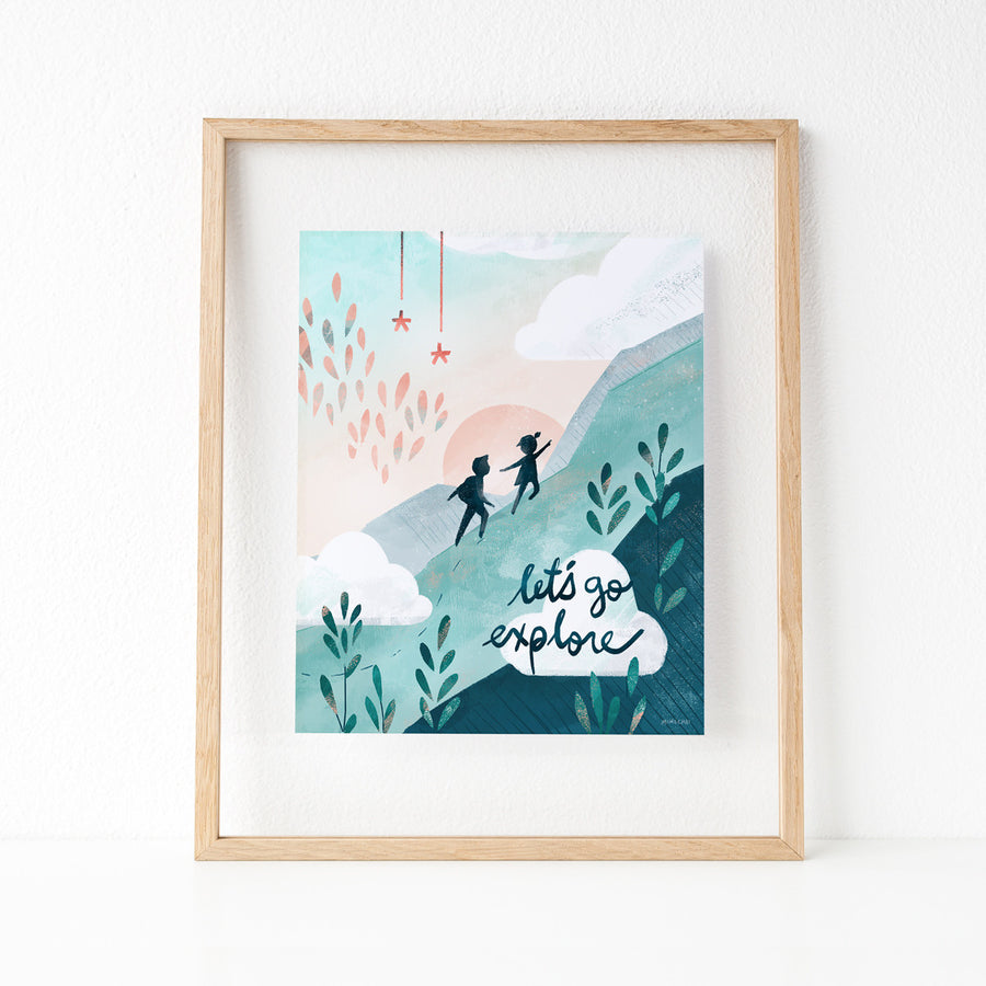 Inspirational Let's Go Explore boy and girl explorers print 11x14