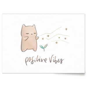 Cute art print of Hamstarcat  giving off Positive Vibes