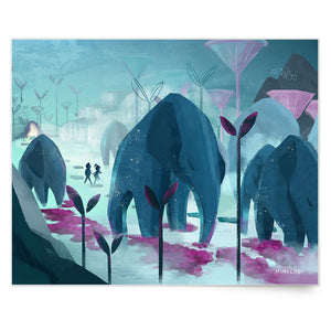 Inspirational nature illustration of boy and girl walking with elephants (Roam With Giants), from Let's Go Explore by Mimochai