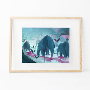Framed inspirational nature illustration of boy and girl walking with elephants (Roam With Giants), from Let's Go Explore by Mimochai