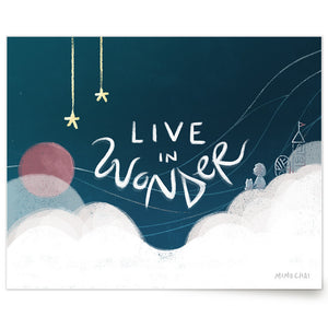 Whimsical Live In Wonder art print with girl, Emme and her friend, Hamstarcat in the clouds