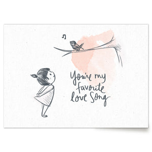 Cute love print girl with bird: You're My Favorite Love Song