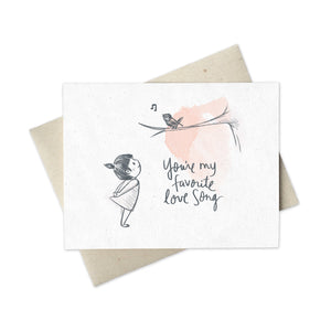 Cute love card girl with bird: You're My Favorite Love Song